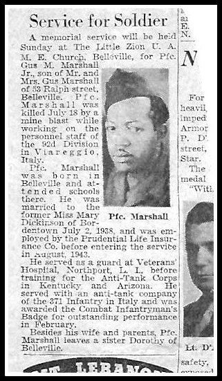 Pfc. Gus M. Marshall of Belleville, NJ, killed in explosion in Italy - WW2