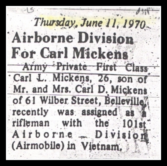 Carl Mickens of Belleville, NJ, KIA Vietnam,