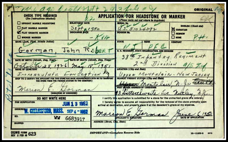John R. Gorman, KIA, Korea, Headstone Application