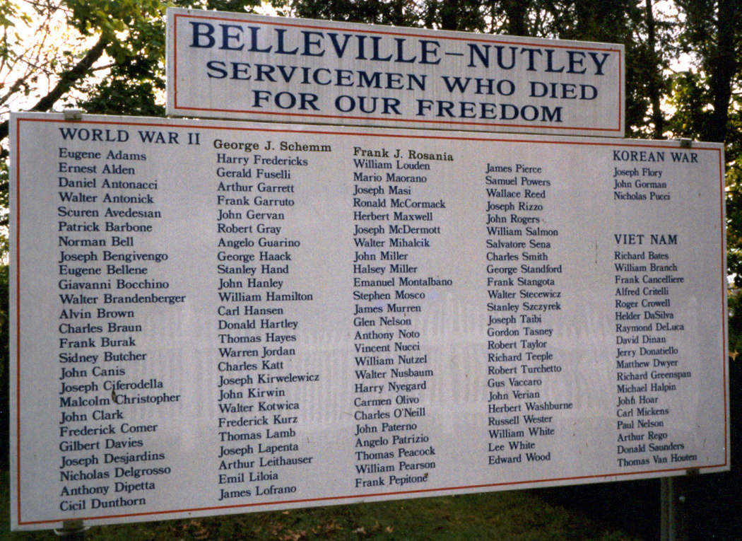Nutley-Belleville War casualties, WW2, Korea,  and Vietnam